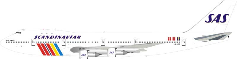 "SAS Scandinavia Boeing 747-200 LN-AEO ""Ivar Viking"" (1:200) - Preorder item, order now for future delivery, InFlight 200 Scale Diecast Airliners Item Number IF742SAS0618"
