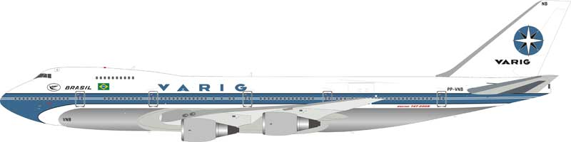 Varig Boeing 747-200B PP-VNB Polished (1:200), InFlight 200 Scale Diecast Airliners, Item Number IF742VR0119P