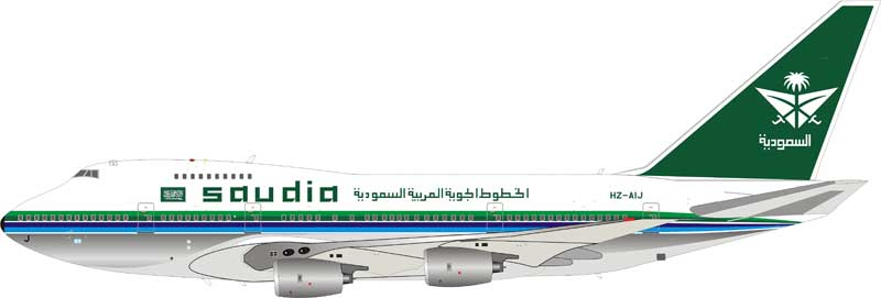Saudi Arabian Airlines Boeing 747SP-68 HZ-AIJ Polished  (1:200) - Preorder item, order now for future delivery, InFlight 200 Scale Diecast Airliners Item Number IF747SPSV0818P