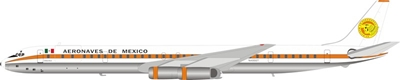 Aeronaves de Mexico DC-8-63CF N4866T Polished With Stand (1:200) by InFlight 200 Scale Diecast Airliners