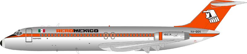 AeroMexico McDonnell Douglas DC-9-32 XA-DEK Polished  (1:200) - Preorder item, Order now for future delivery , InFlight 200 Scale Diecast Airliners Item Number IF930AM1018P