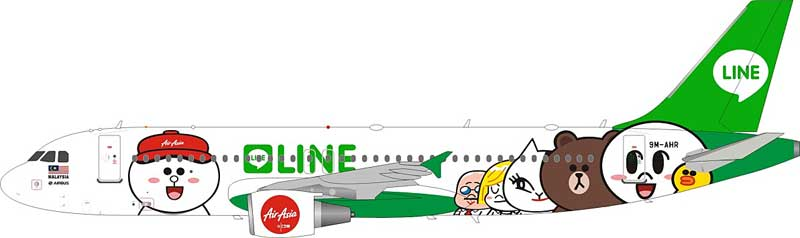 Air Asia Airbus A320-216 9M-AHR Line Friends Livery (1:200) - Preorder item, Order now for future delivery
