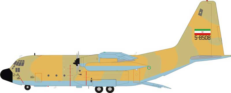 Iranian Air Force C-130 5-8508, With Stand, Limited 40pcs (1:200) by JFox Model Airliners Item Number: JF-C130-028