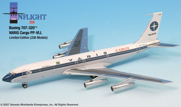 Varig 707-320F Cargo (1:200), InFlight 200 Scale Diecast Airliners Item Number IF70024