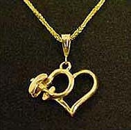 Heart Necklace With Bi Plane - Sterling Silver, Port to Port Air Aviation Jewelry Item Number N501BP