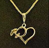 Heart Necklace With High Wing - Sterling Silver, Port to Port Air Aviation Jewelry Item Number N501HW