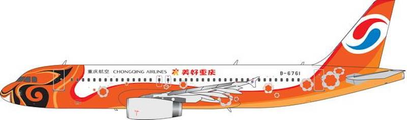 "Chongqing Airlines A320-200 ""MeiHao Chongqing"" B-6761 (1:400), Phoenix 1:400 Scale Diecast Aircraft, Item Number PH4CQN1856"