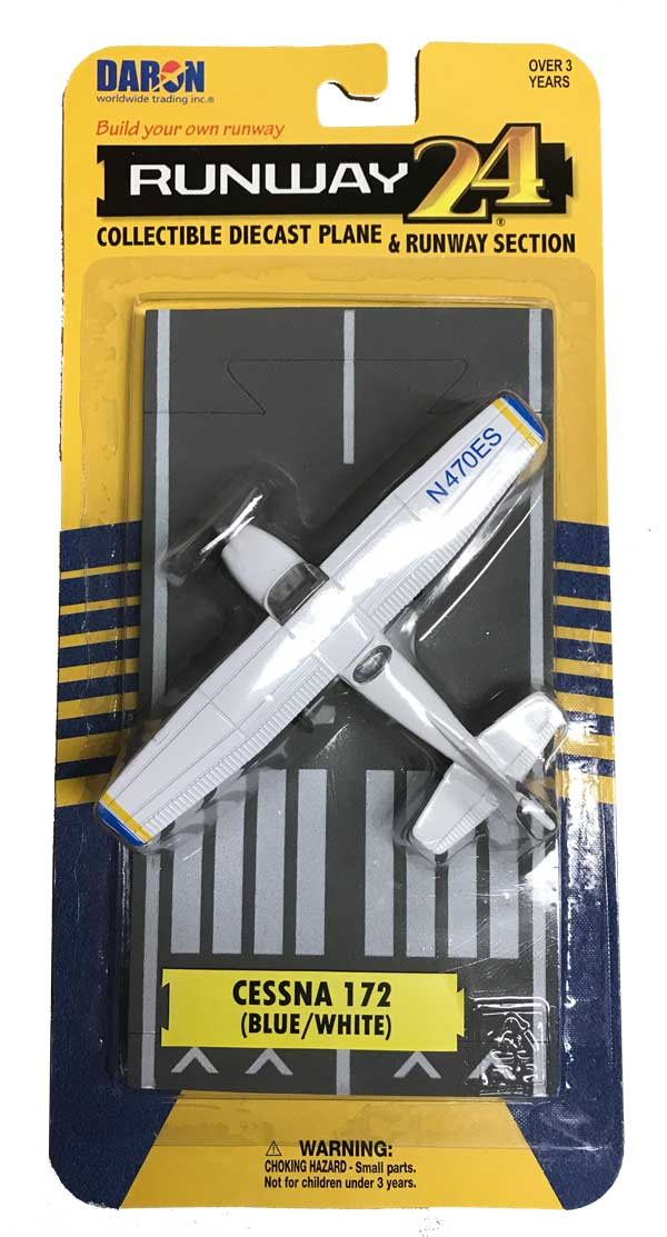 "Cessna 172 Skyhawk, Blue & White, with Runway (Approx. 5"")"