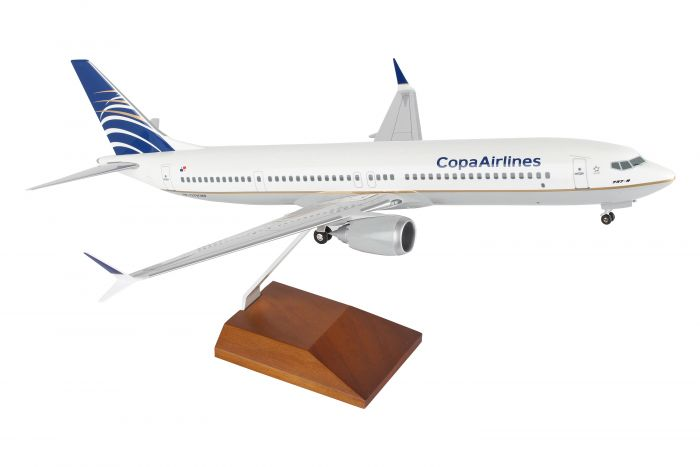 Copa 737-MAX 9 (1:100) With Wood Stand & Gear, New Mould by Skymarks Supreme Desktop Aircraft Models item number: SKR8264