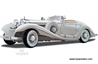 Mercedes Benz 500 K Type Roadster Convertible (1936, 1/18 scale diecast model car, White), Maisto Premiere Item Number 36055