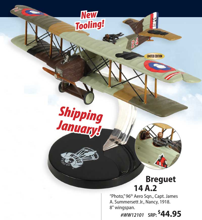 Breguet 14 A.2, Capt. James A. Summersett Jr., 96th Aero Sqn., 1918 (1:72) NEW TOOL!, Wings of the Great War Item Number WW12101