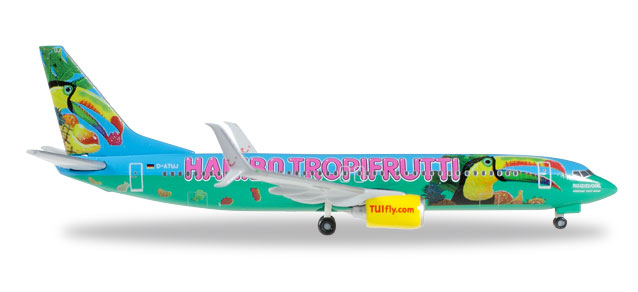 "Tuifly B737-800 with Scimitar winglets, D-ATUJ ""Tropifrutti"" (1:400), JC Wings Diecast Airliners, JC4TUI369"