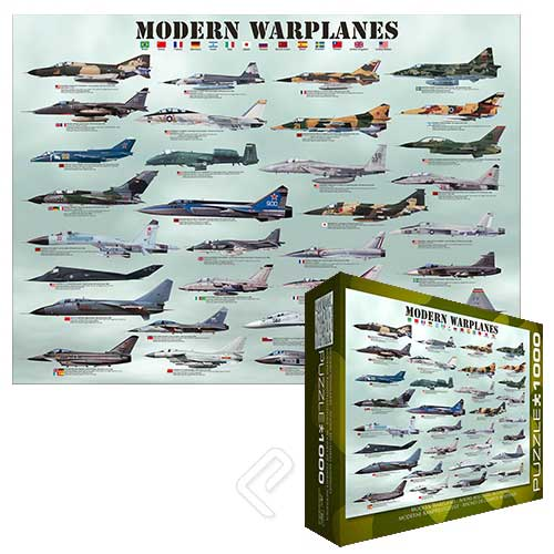 "Modern Warplanes Puzzle (1000 pieces 26.5"" x 19.25""), Eurographics Puzzles Item Number EUG6000-0076"