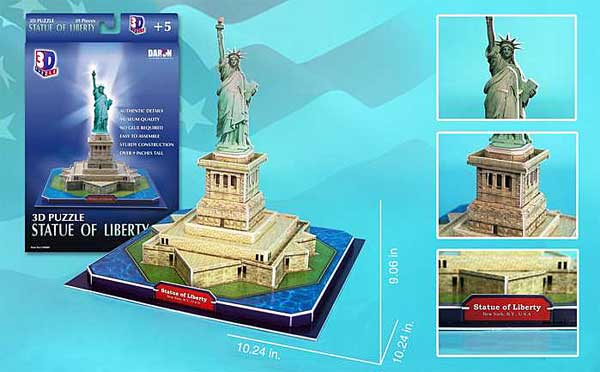 Statue Of Liberty 39 Piece 3D Puzzle, 3D Puzzles Item Number CF080H