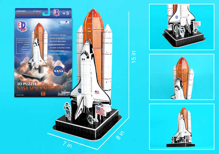 Space Shuttle 3D Puzzle On Launch Pad 87 Pieces, 3D Puzzles Item Number CF140H