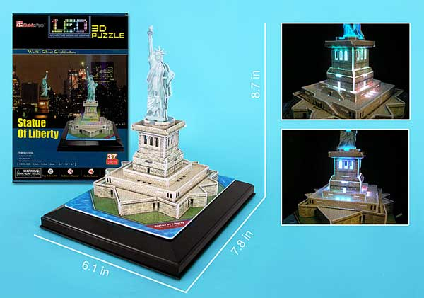 Statue Of Liberty 3D Puzzle With Base & Lights, 3D Puzzles Item Number CFL505H