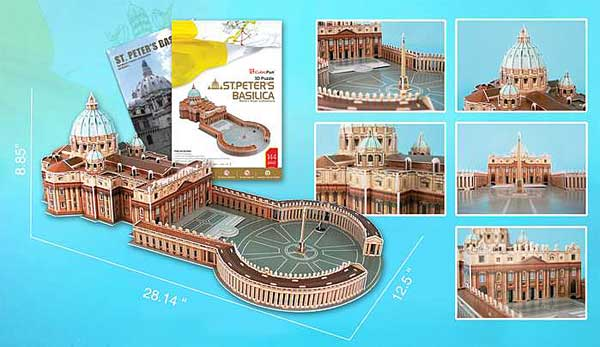 St Peters Basillca 144 Piece 3D Puzzle With Book, 3D Puzzles Item Number CFMC092H