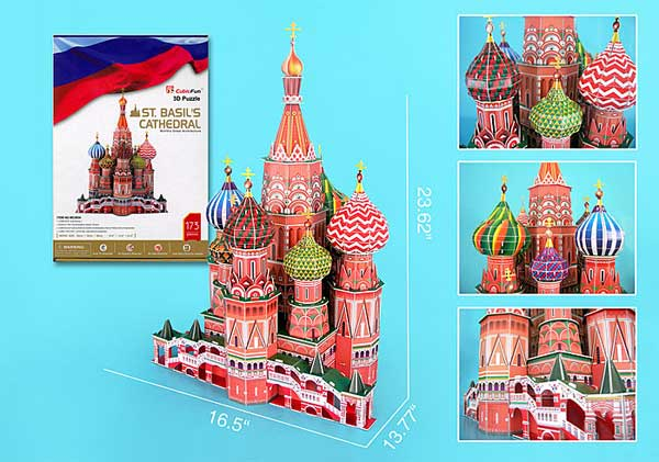 St Basils Cathedral 120 Pieces 3D Puzzle W/Book, 3D Puzzles Item Number CFMC093H
