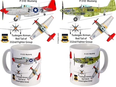 "P-51 Mustang, Tuskegee ""Red Tails"" Mug"