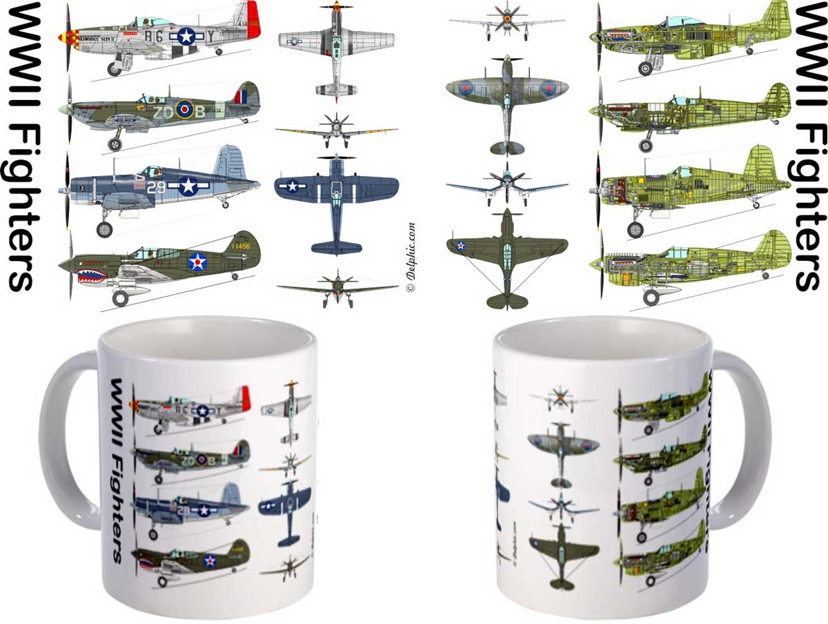 Ww Ii Famous Fighter Aircraft Coffee Mug Item Number Mug412m By Pilotwear Pilotwear Is The Place To Find Ww Ii Famous Fighter Aircraft Coffee Mugs