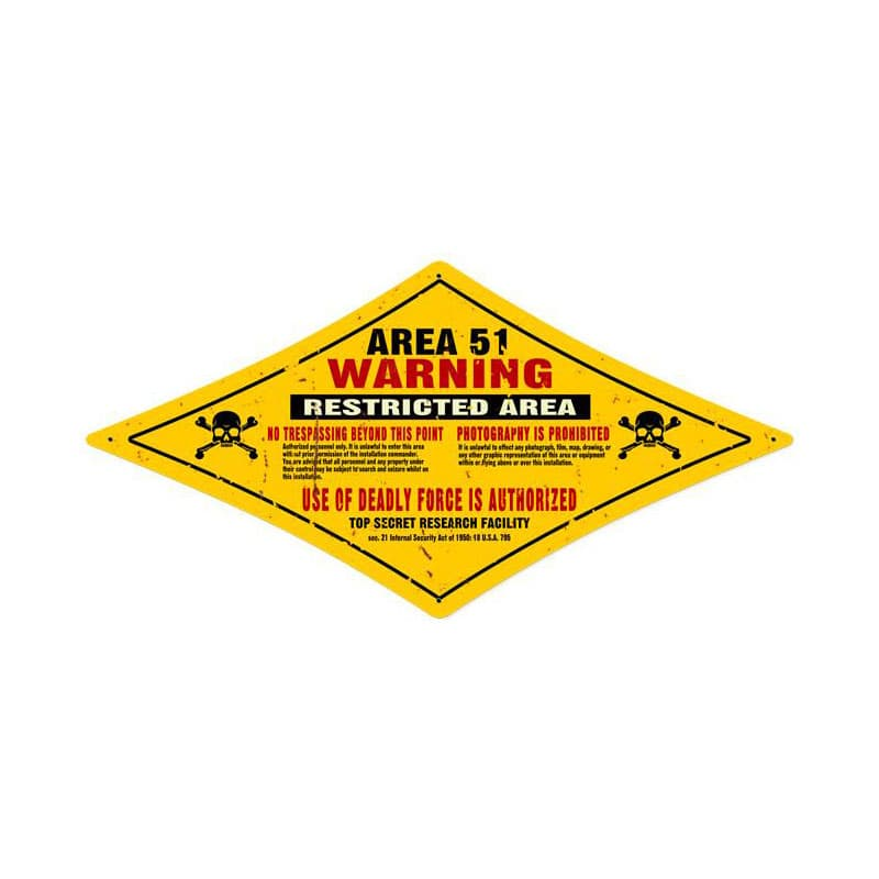 Area 51 Vintage Metal Sign, 24 By 12 by Vintage Sign Company item number: DMD002