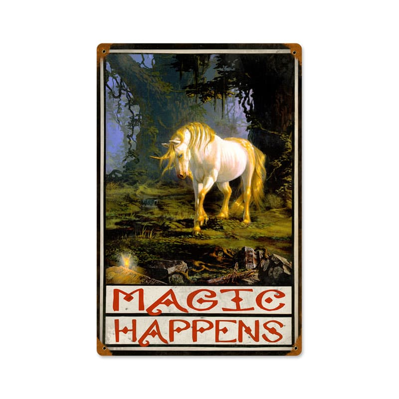 Magic Happens Vintage Metal Sign, 12 By 18 by Vintage Sign Company item number: HADM020
