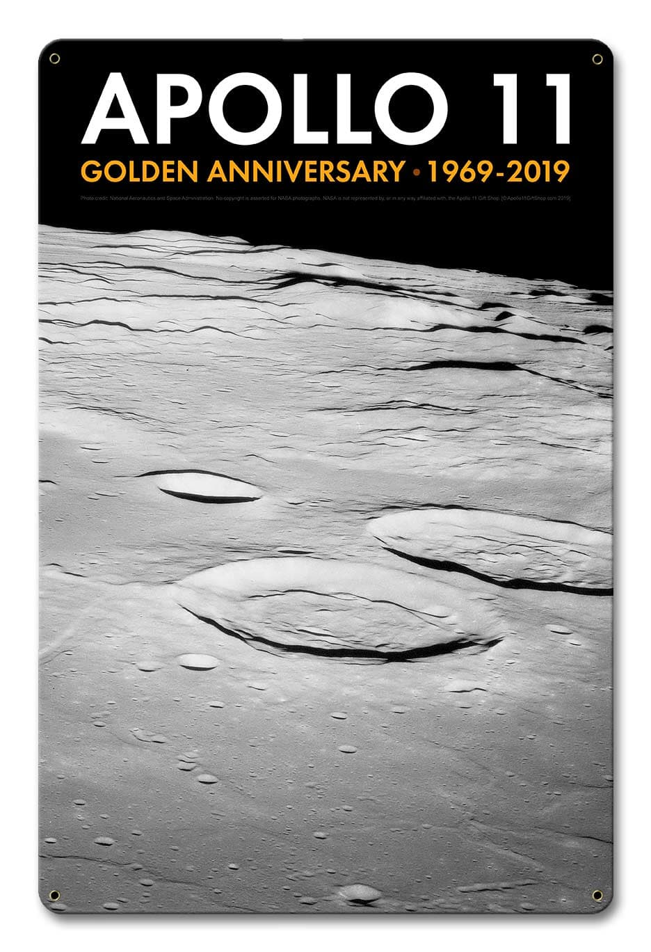 Apollo 11 50Th Anniversary Craters On The Lunar Surface Black Metal Sign Vintage Metal Sign, 12 By 18 by Vintage Sign Company item number: AGS023