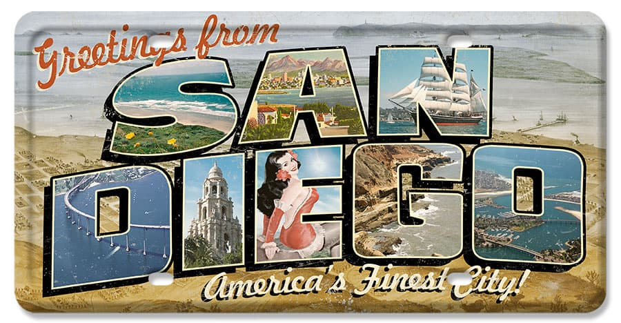 San Diego Postcard License Plate Vintage Metal Sign, 12 By 6 by Vintage Sign Company item number: LP080