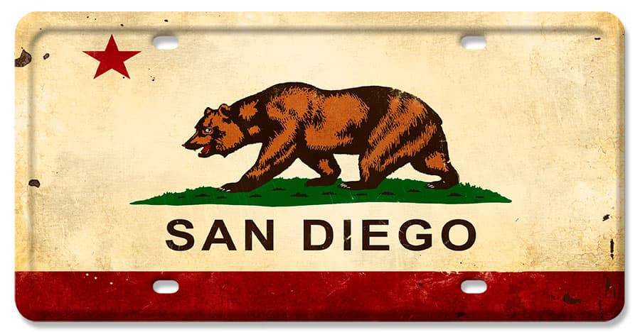 California Flag San Diego Vintage Metal Sign, 12 By 6 by Vintage Sign Company item number: LP081