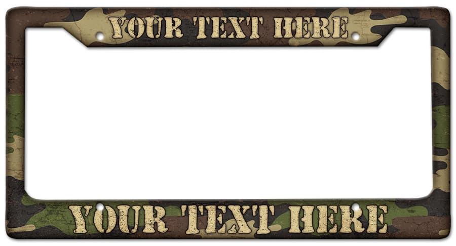 Camouflage Frame Personalized Vintage Metal Sign, 12 By 6 by Vintage Sign Company item number: LPF001