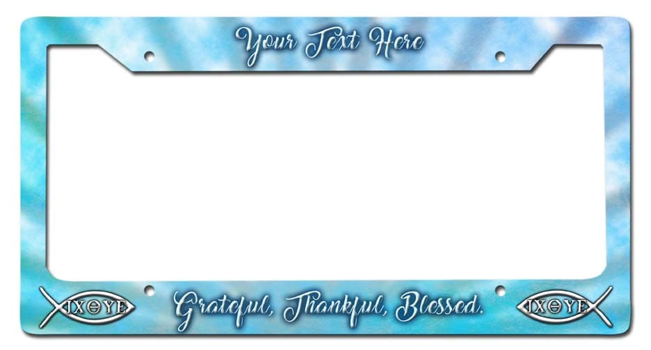 Blessed Personalized License Frame Vintage Metal Sign, 12 By 6 by Vintage Sign Company item number: LPF016