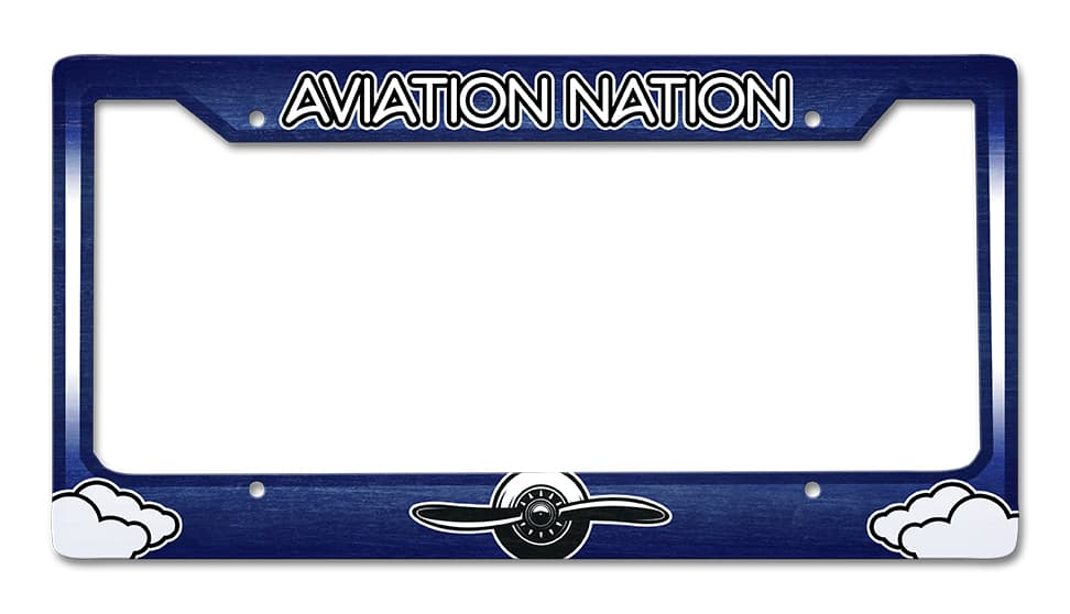 Aviation Nation License Plate Frame Vintage Metal Sign, 12 By 6 by Vintage Sign Company item number: LPF023
