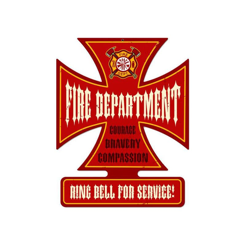 Fire Department Vintage Metal Sign, 18.5 By 14.5 by Vintage Sign Company item number: IC002