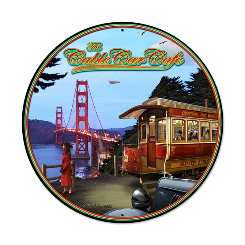 Cable Car Vintage Metal Sign, 28 By 28 by Vintage Sign Company item number: LG093