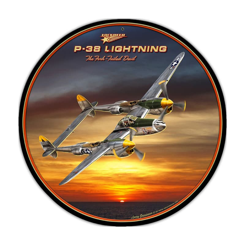 P-38 Lightning Round Metal Sign-Military Issue
