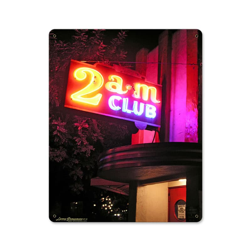 2 Am Club Vintage Metal Sign, 12 By 15 by Vintage Sign Company item number: LG235