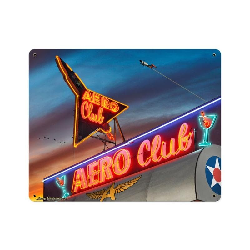 Aero Club Vintage Metal Sign, 12 By 15 by Vintage Sign Company item number: LG314