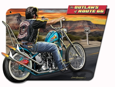 3-D Outlaws Of Route 66 Vintage Metal Sign, 17 By 12 by Vintage Sign Company item number: LG628