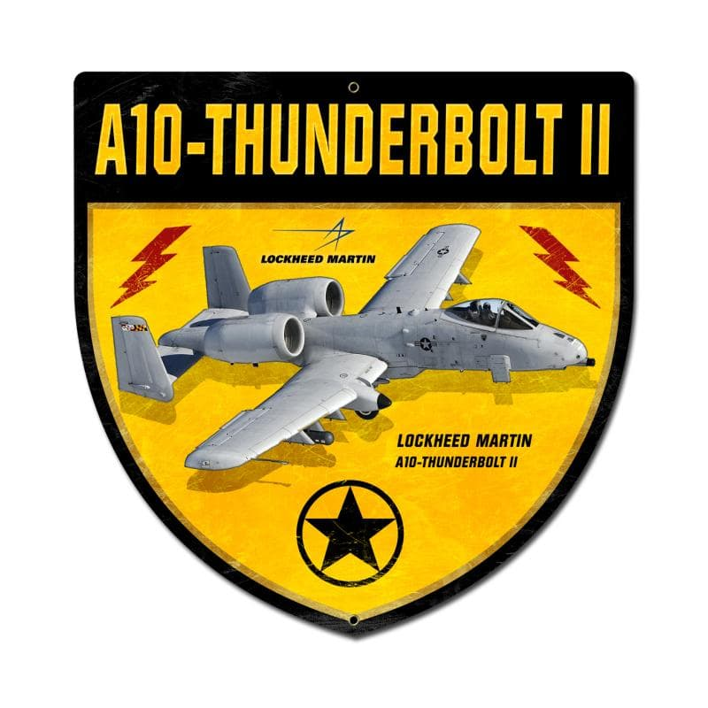 A-10 Thunderbolt Shield Vintage Metal Sign, 15 By 15 by Vintage Sign Company item number: LM029