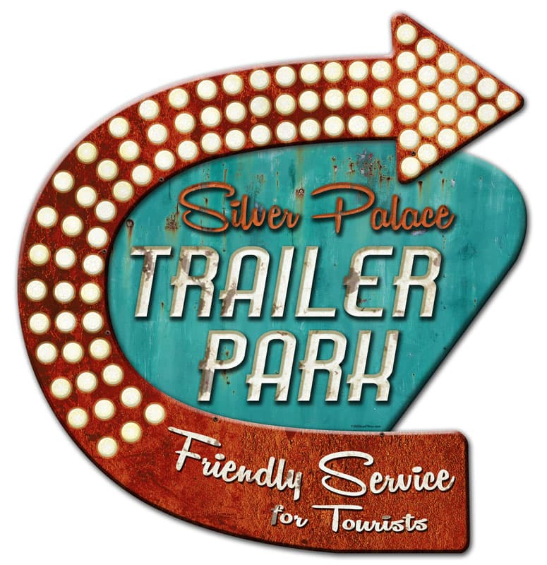 3-D Silver Palace Trailer Park Vintage Metal Sign,  By 24 by Vintage Sign Company item number: OSN011