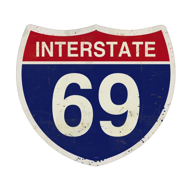 Interstate 69 Vintage Metal Sign, 16 By 16 by Vintage Sign Company item number: PS065