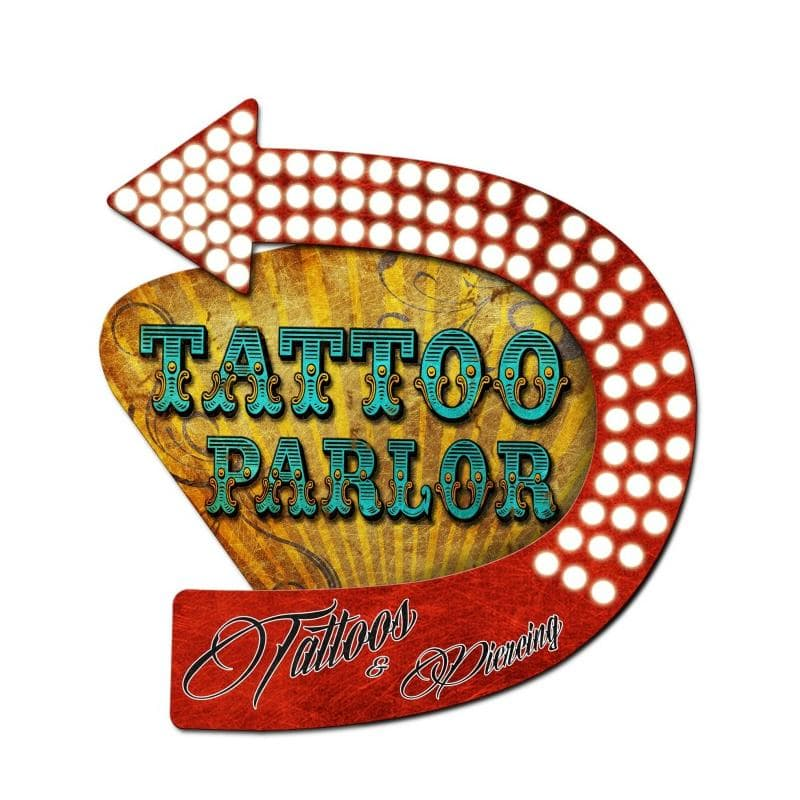 3-D Tattoo Parlor Vintage Metal Sign, 20 By 24 by Vintage Sign Company item number: PS360