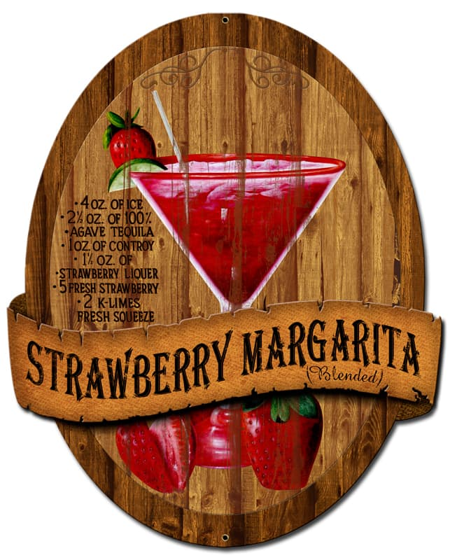 3-D Strawberry Margarita Vintage Metal Sign, 13 By 16 by Vintage Sign Company item number: PS390