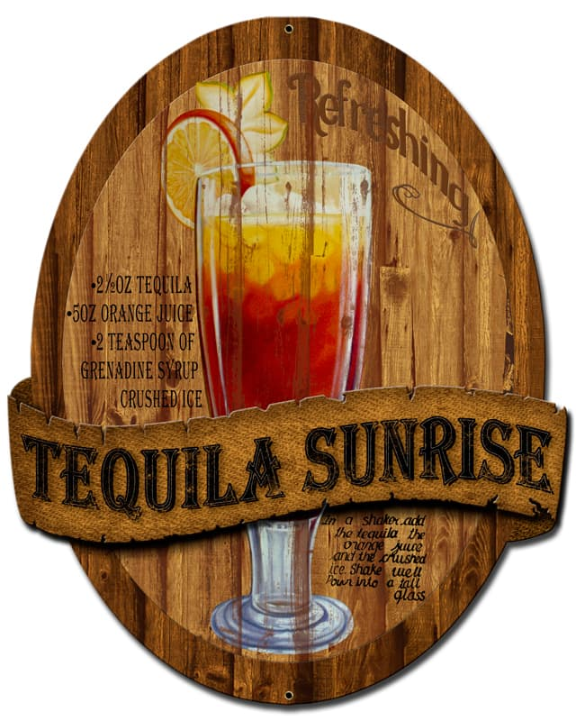 3-D Tequila Sunrise Vintage Metal Sign, 13 By 16 by Vintage Sign Company item number: PS391