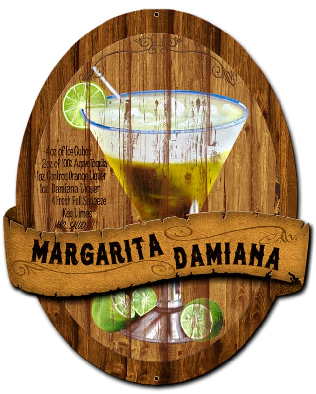 3-D Margarita Damiana Vintage Metal Sign, 13 By 16 by Vintage Sign Company item number: PS392