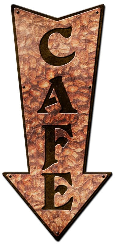 3-D Arrow Cafe Vintage Metal Sign, 24 By 17 by Vintage Sign Company item number: PS408