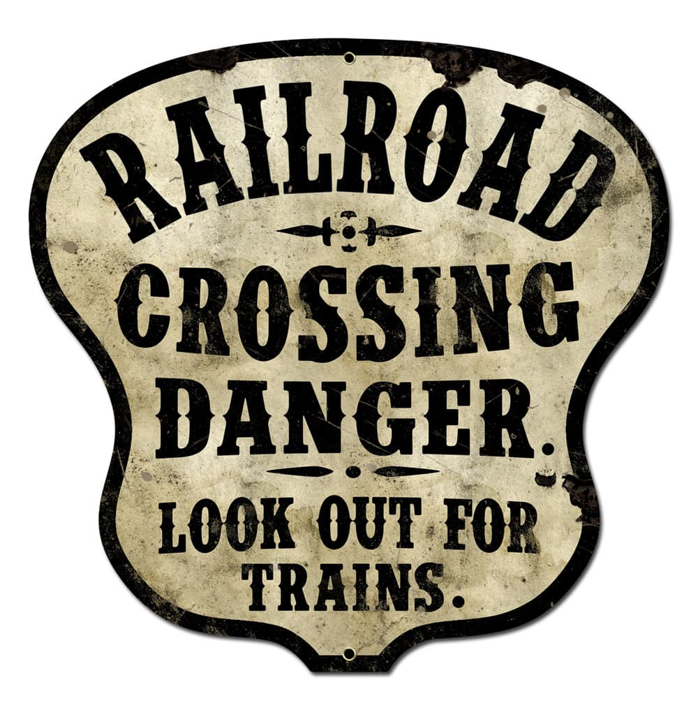 Railroad Crossing Vintage Metal Sign, 16 By 16 by Vintage Sign Company item number: PS419