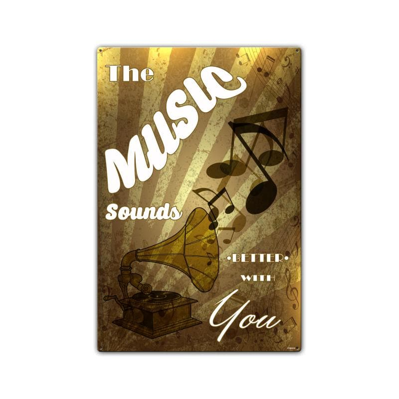Music Sounds Vintage Metal Sign, 16 By 24 by Vintage Sign Company item number: PTBS039