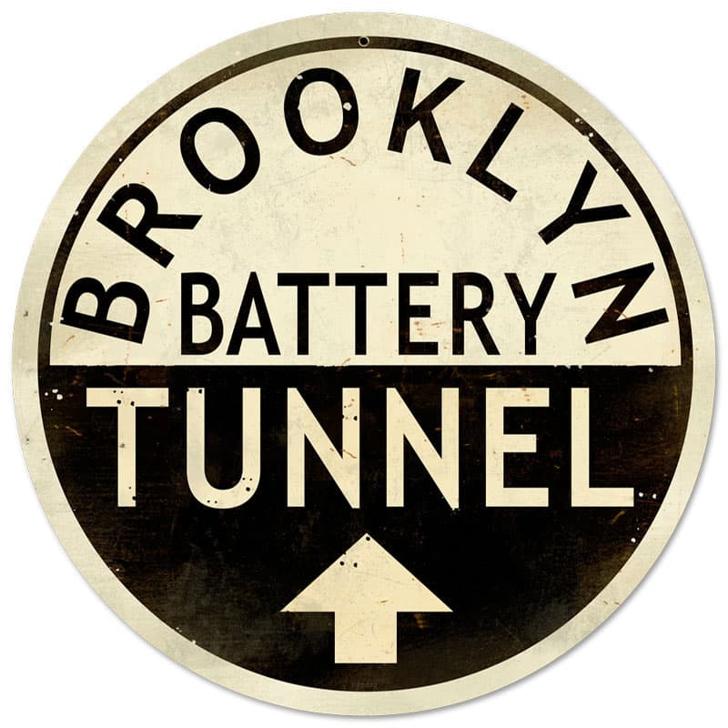 Brooklyn Tunnel Vintage Metal Sign, 14 By 14 by Vintage Sign Company item number: PTS072