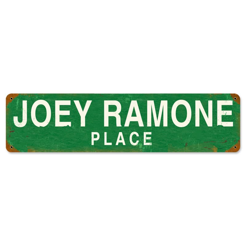 Joey Ramone Place Vintage Metal Sign, 20 By 5 by Vintage Sign Company item number: PTS081